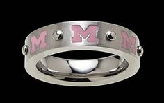 Beliza Design | University of Michigan Rings - R51Z0359 - Brushed Stainless Steel University of Michigan Ring with Pink Block 'M' Logos and Rivet Accents