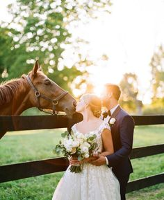 Lexington Kentucky Wedding Photographers at the Polo Barn at Saxony Farm. Photo of the Bride and Groom during sunset portraits on their wedding day with a horse located on property. Horse Wedding Photos, Country Wedding Photos, Country Barn Weddings, Wedding Pictures, Cowboy Weddings, Outdoor Weddings, Western Weddings, Romantic Weddings, Themed Weddings