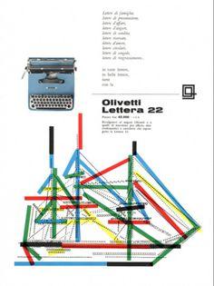 Locandina pubblicitaria di Giovanni Pintori, graphic designer, per la macchina per scrivere portatile Lettera 22, pubblicata su riviste e quotidiani nazionali nel 1958 e nel 1959.