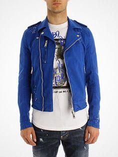 2013.02.25 Electric blue denim biker jacket by DSQUARED.    Shop now > http://pick.basouk.com/YSDhSJ