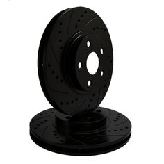 ATL Autosports Performance Brake Rotors Rear Pair Fits 2010 Volvo V70 [ W/ 300 mm Front Disc ] ATL34369-23DSBZ, Black