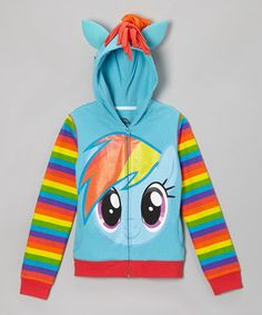 A friendly face always makes a day better, no matter what's in store. And just like a pretty pony, this zip-front rainbow-colored hoodie will gallop right into any girl's heart.