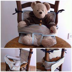 Voici un siège nomade pour tenir son bébé en toute sécurité sur une chaise ou un caddie pendant vos courses.