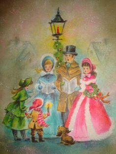 Vtg Unused Coronation Christmas Card Scrapbook Pastel Glitter Carolers Lampost | eBay