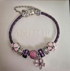 PANDORA Purple Leather Bracelet with Cherry Blossom Clips n Dangle, Pink Pave and Purple Enamel Spacers.