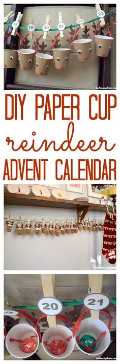 Fun Christmas craft and decor idea. DIY paper cup reindeer advent calendar.