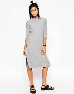 ASOS+High+Neck+Column+Dress+in+Rib