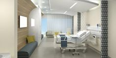 The goal for this 201-bed hospital planned for the Middle East is to provide access to care in an environment that supports comfort, respect, and restfulness. In the patient room, curved lines in addition to upscale furnishings, warm materials, and patient-controlled accent lighting are among hospitality-inspired touches. The use of multiple curtains allows for various levels of privacy for both patients and family. #healthcare