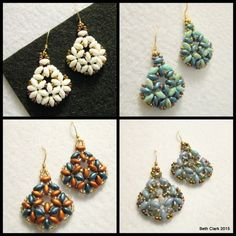 This listing is for a tutorial on how to make the Beth Duo Earrings using Superduos and size 11 seed beads. Included are step by step instructions with figures on how to make these earrings. This patt
