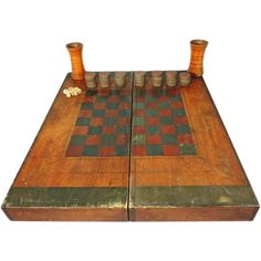 Antique Wood Box Game Board Checkers Chess Backgammon Hand Painted Folk Art