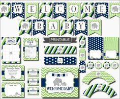 DIY Navy Blue Lime Green Elephant Baby Shower Decorations