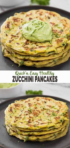 These zucchini pancakes are prepared using only 5 ingredients. Grated fresh zucchini along with whole wheat flour makes them healthy and wholesome. A perfect recipe for a quick, filling, and easy breakfast. | #watchwhatueat #zucchinirecipes #zucchinipancakes #healthypancakes #healthybreakfast Veggie Recipes, Vegetarian Recipes, Cooking Recipes, Healthy Recipes, Kid Recipes, Dishes Recipes, Snacks Recipes, Savory Snacks, Healthy Breakfasts