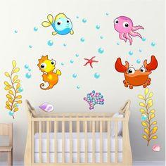 Αυτοκόλλητο τοίχου Θαλάσσια ζωάκια Baby, Baby Humor, Infant, Babies, Babys