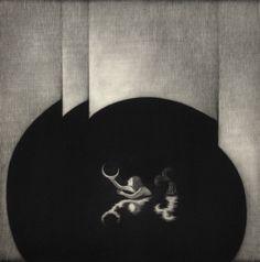 'She Picks Up the Moon' (2013) by Japanese artist and printmaker Kouki Tsuritani (b.1967). Mezzotint, edition of 40, 200 × 200 mm. via the artist's site