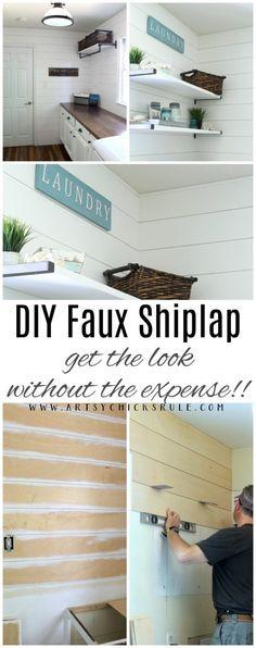DIY Faux Shiplap! Get the look, without the expense! artsychicksrule.com #diyfauxshiplap #shiplap #fauxshiplap
