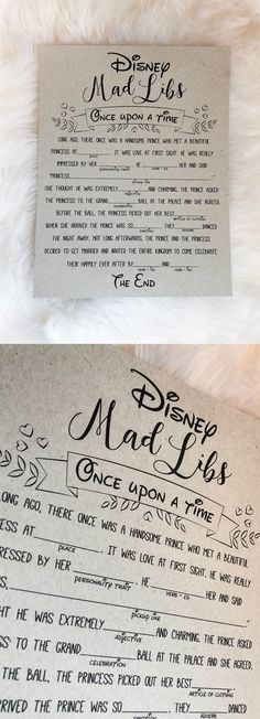 Disney mad libs. Disney bridal shower games. Disney bridal shower. #DisneyWeddingIdeas