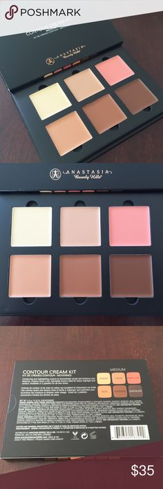 Anastasia Contour Cream Kit - MEDIUM Anastasia Contour Cream Kit in Medium. Authentic, purchased at Macy's. Never used/swatched. Opened for inspection and photos. Comes with shades in Banana, Cream, Warm Coral, Nude, Cinnamon, and Chocolate. No trades. Price firm. Thanks for browsing! Anastasia Beverly Hills Makeup