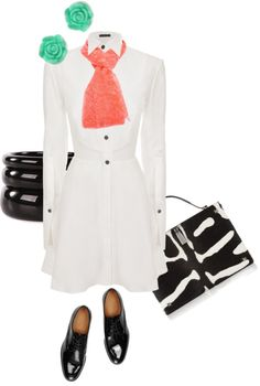 """ms brogues loves a structured white dress"" by bananya on Polyvore"