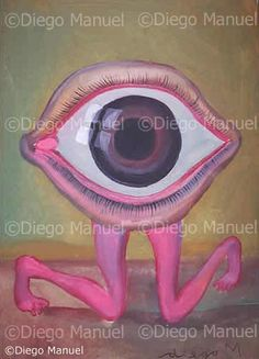 """ojo de rodillas"", acrylic on canvas, 30 x 20cm.. By Diego Manuel"