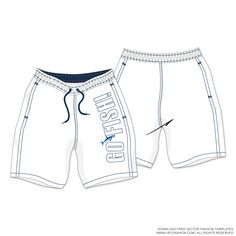 Men-White-Swim-Shorts-Vector-Template