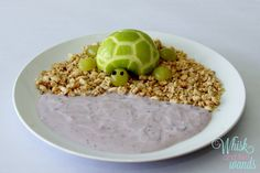 Apple Turtle with Blueberry Yogurt Pond and Granola beach #kids #healthykids #foodfun @Stonyfield Organic