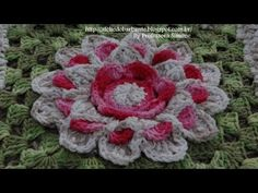 Passo a passo Mega Flor Azaleia - / Walkthrough Mega Azalea Flower - Grannies Crochet, Granny Square Crochet Pattern, Crochet Flower Patterns, Crochet Diagram, Freeform Crochet, Afghan Crochet Patterns, Crochet Squares, Crochet Motif, Crochet Designs