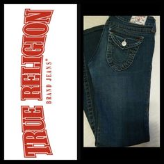"""True religion jeans Dark wash true religion jeans size 27. Great condition tiny wear on bottom hems shown in last pic. Flare leg 9"""" and inseam 30"""" True Religion Jeans Flare & Wide Leg"""