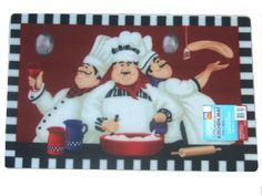 Add charm to your fat chef themed kitchen with this delightful kitchen rug that features a trio of fat chefs. $19.95