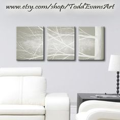 SALE, 24x10 inches, Original 3 piece Wall art set, Canvas Art Grey, gray Trees, set of 3, black and white art, painting, tree decor by ToddEvansArt, $70.00