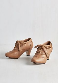 Dance it Up Heel in Tan - Tan, Solid, Scallops, Work, Vintage Inspired, 20s, Darling, Good, Lace Up, Mid, Faux Leather