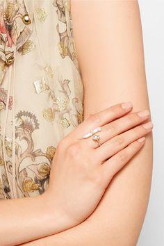 Melissa Joy Manning | 14-karat gold, Herkimer diamond and pearl ring | NET-A-PORTER.COM