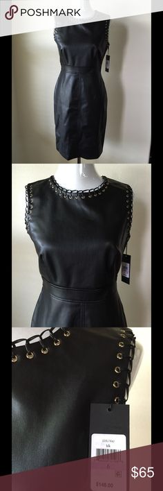 "Karl Lagerfeld Paris Faux Dress Faux Sheath Dress sleeveless with gold loopholes around sleeve and collar, 5"" slit in back hem, zips in back, fully lined, 100% Polyurethane                                                                   Size 6 Waist 28"" Bust 34"" Lenght 37""                   Size 14 Waist 34"" Bust 38"" Lenght 39"" NWT Karl Lagerfeld Paris Dresses Midi"