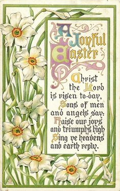 "A JOYFUL EASTER  narcissi Just go to this website and search ""Easter"" for more gorgeous vintage postcards!"