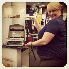 showing off the vintage typewriter at the booth at Vintage Typewriters, Atlanta, Desk, Home Decor, Desktop, Decoration Home, Room Decor, Writing Desk, Office Desk