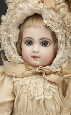 "Splendid E.J. Jumeau Bébé Doll. French bisque socket head incised ""Depose E 9 J"" with red check mark"