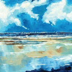 Australian  sunset beach ocean art seascape 110cm x 100cm  Canvas print