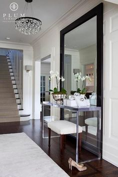 McGill Design Group - entrances/foyers - The Johnny Table, The Wonder Mirror, Arctic Pear Chandelier, pear chandelier, floor mirror, foyer f...