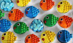 Fishy Mini Cupcakes - Cute Idea for a little kid Bday Party