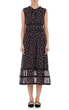 Floral-Print Swiss Dot Sheath Dress