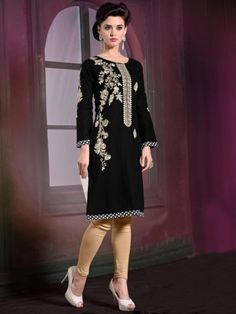 Black Cotton Readymade Kurti