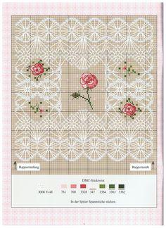 0 point de croix grille et couleurs de fils dentelle et petites roses