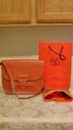 Hermes Paris Vintage 1964 Orange Leather (T) Messenger Shoulder Bag / Purse
