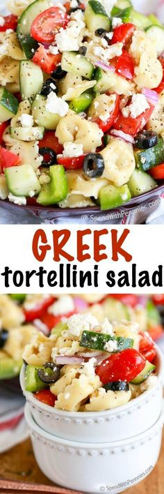 Greek Tortellini Salad is one of our all time favorites! Tender cheese filled tortellini, crunchy peppers, crisp cucumbers and juicy tomatoes, topped with loads of cheese and tossed in a greek flavored dressing! This easy recipe is going to become one of your staple potluck dishes.: