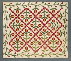'Tulips' with 'Flying Geese' Sashing and Meandering Border, Mary Jane Robson (United States, New York, Dundee, active 1825-1840)  Appliquéd, pieced, quilted and padded plain and printed cotton, 84 1/2 x 73 1/2 in.