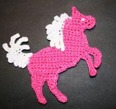 Pattern-Crochet Horse, Pony or Unicorn Applique - by CrochetAppliquePatterns on Craftumi