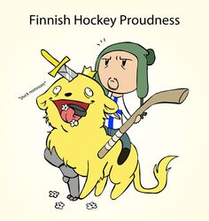 Finnish hockey proudness. Explanation to the lion from Finnish coat of arms can be found here: http://satwcomic.com/coat-of-arms.