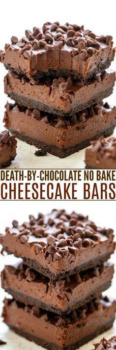 Death by Chocolate No-Bake Cheesecake Bars - Averie Cooks Make Ahead Desserts, No Bake Desserts, Easy Desserts, Delicious Desserts, Dessert Recipes, Bar Recipes, Health Desserts, Kitchen Recipes, Kitchen Tools