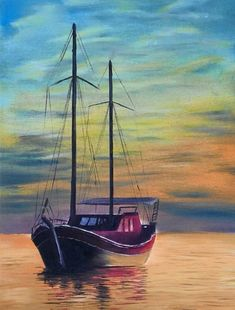 Painting Sailboats In Acrylic Elegant Pictures solos Tranquilos Paintins Pintere. - My CMS Seascape Paintings, Landscape Paintings, Watercolor Landscape, Watercolor Paintings, Sailboat Painting, Boat Art, Pictures To Paint, Acrylic Art, Painting Inspiration