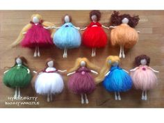 Felt Fairy, Fairy Dolls, Colorful Flowers, Needle Felting, Wool Felt, Projects To Try, Make It Yourself, How To Make, Childrens Rooms