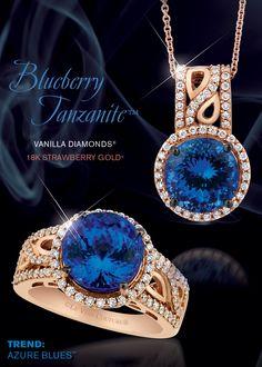 Blueberry Tanzanite™ and Vanilla Diamonds® in Strawberry Gold®.